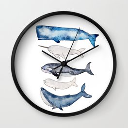 Watercolor orca whale, spermwhale, humpback, narwhal, beluga whales Wall Clock