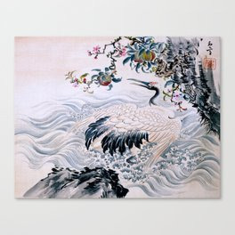 Flowers and Bird Canvas Print