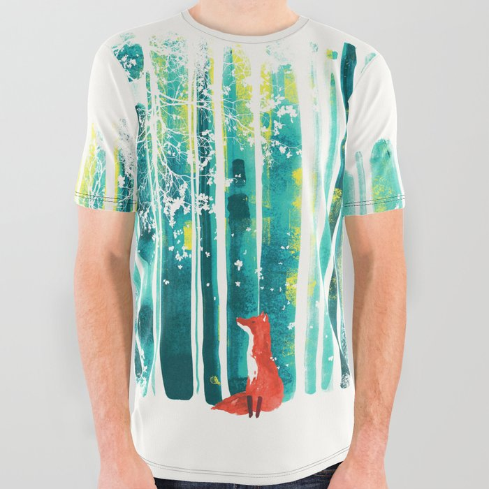 Fox in quiet forest All Over Graphic Tee