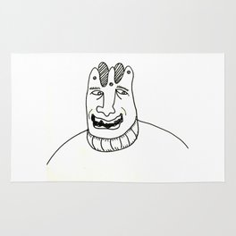 A laughing man with a crown on his head Rug