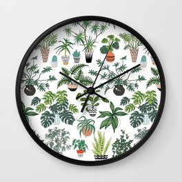 plants and pots pattern Wall Clock