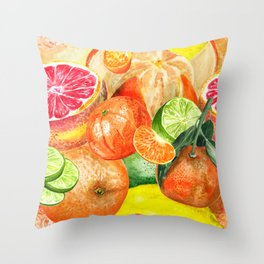 Pattern with citruses Throw Pillow