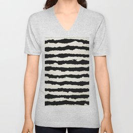 Tribal Stripes Black on Cream Unisex V-Neck