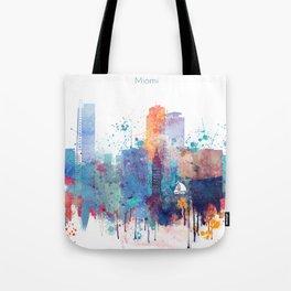 Miami watercolor skyline design Tote Bag