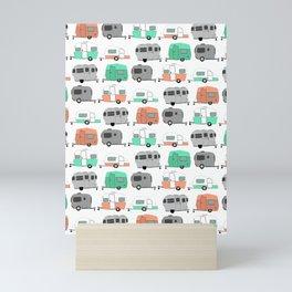 Vintage caravan pattern Mini Art Print