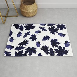 Indigo Blue Sun-Dyed Leaves Rug
