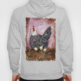 Blue Hen With Chicks Transparent Hoody