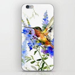 Alen's Hummingbird and Blue Flowers iPhone Skin