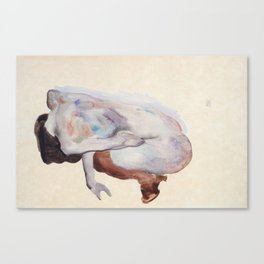Crouching Nude in Shoes and Black Stockings, Egon Schiele Canvas Print