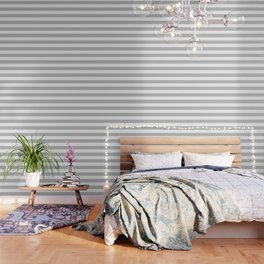 Argent - solid color - white stripes pattern Wallpaper