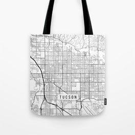 Tucson Map, Arizona USA - Black & White Portrait Tote Bag