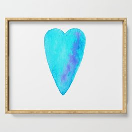 Turquoise Heart Full Of Love Watercolor Serving Tray
