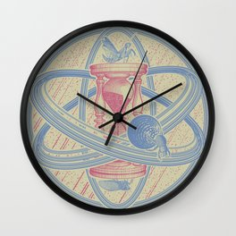 Time Infinity System. Orbit, sandglass, scarab, cicada, mantis. Engraving illustration. Part 1. Wall Clock