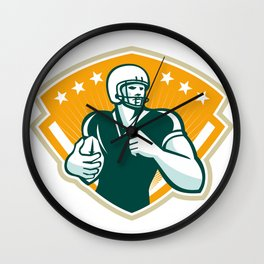 American Football Runningback Crest Wall Clock