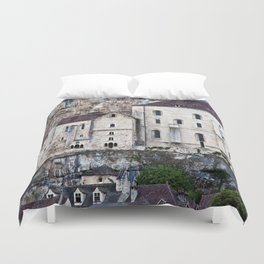 Medieval Facade of the French Castle in Rocamadour Duvet Cover