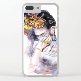 Frida Kahlo watercolor portrait Clear iPhone Case