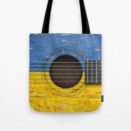 Old Vintage Acoustic Guitar with Ukrainian Flag Tote Bag
