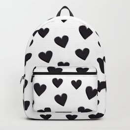 Hearts Love Black and White Pattern Backpack