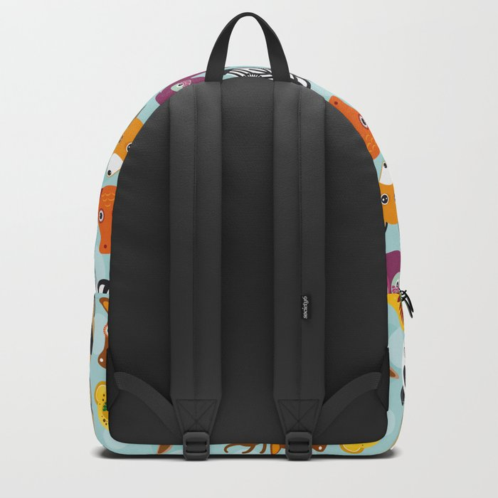 pattern with funny cute animal face on a blue background Backpack