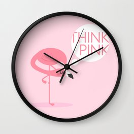 flamingo think pink Wall Clock