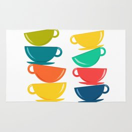 A Teetering Tower Of Colorful Tea Cups Rug