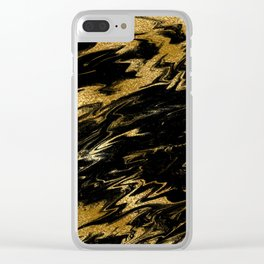 Luxury and sparkle gold glitter and black marble Clear iPhone Case