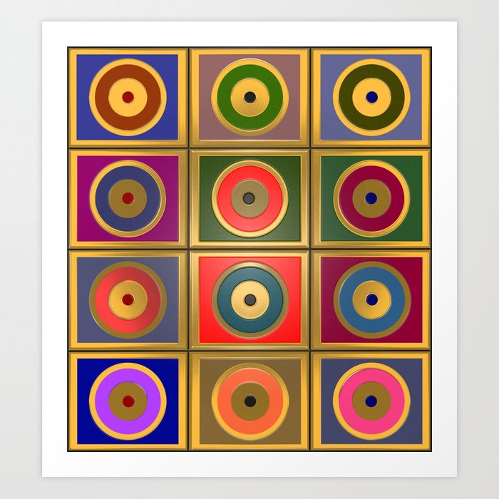 Rectangles & Circles #3 Art Print