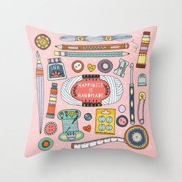 Happiness is Handmade Throw Pillow