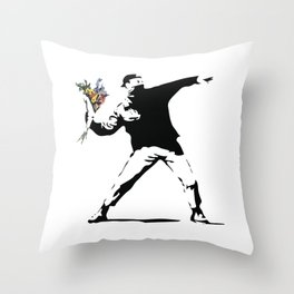 Banksy Flower Thrower Throw Pillow