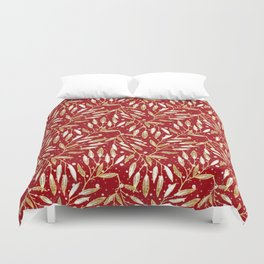 Christmas colorful pattern. Gold sprigs on a red background. Duvet Cover
