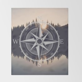 Wooded Lake Reflection Compass Throw Blanket