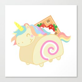 Unicorn - Swiss Roll Cake Canvas Print