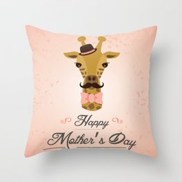 Happy Mother's Day ~ Giraffe Throw Pillow