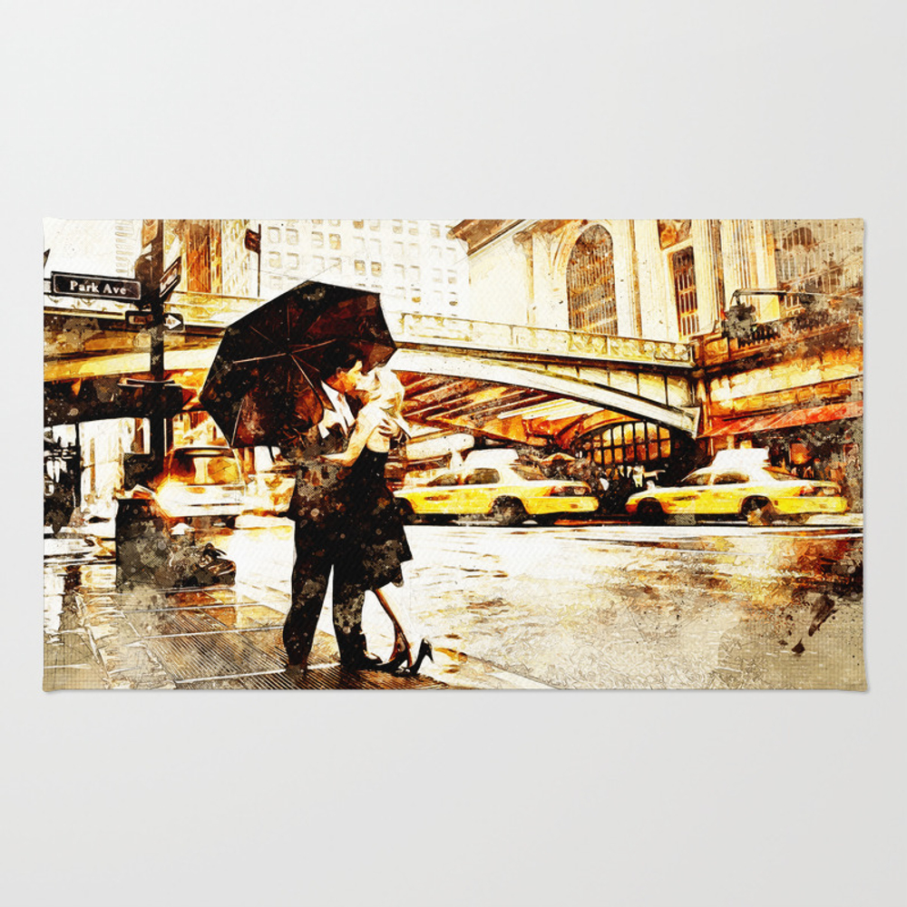 Love In The Rain (loving The Rain) Rug by D77thedigartist RUG8597572