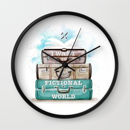 I WANT TO LIVE IN A FICTIONAL WORLD Wall Clock