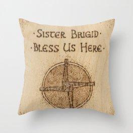 Brigid's Cross Blessing Woodburned Plaque Throw Pillow