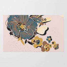 black & floral #blush Rug