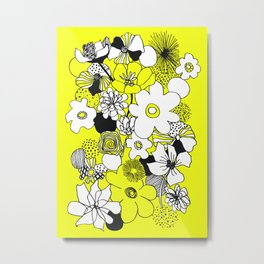 Floral Medley - Yellow Metal Print