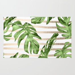 Simply Tropical White Gold Sands Stripes and Palm Leaves Rug