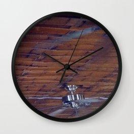 Wood Ceiling, Chrome Fans Wall Clock
