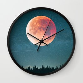 Blood Moon Over the Forest on a Starry Night Wall Clock