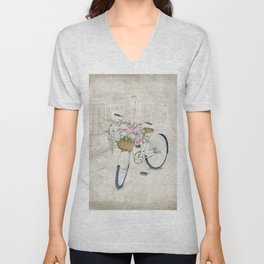 Vintage bicycles with roses basket Unisex V-Neck