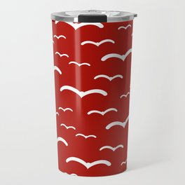 Maritime Sea Gull Pattern in Red & White - Mix & Match with Simplicity of Life Travel Mug