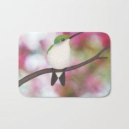 ruby throated hummingbird - female on pink bokeh Bath Mat