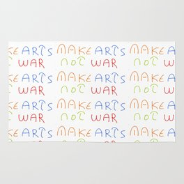 make art not war-anti-war,pacifist,pacifism,art,artist,arte,paz,humanities Rug