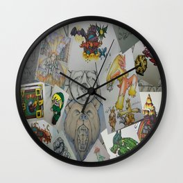 Collage Doodles Wall Clock