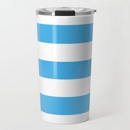Picton blue - solid color - white stripes pattern Travel Mug