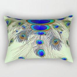 DECORATIVE BLUE GREEN PEACOCK FEATHER & JEWELS #3 PATTERN Rectangular Pillow