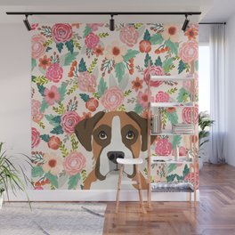 Boxer floral dog head cute pet portrait gifts for Boxers must haves Wall Mural