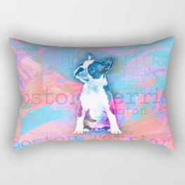 Boston Terrier Watercolor Digital Art Rectangular Pillow